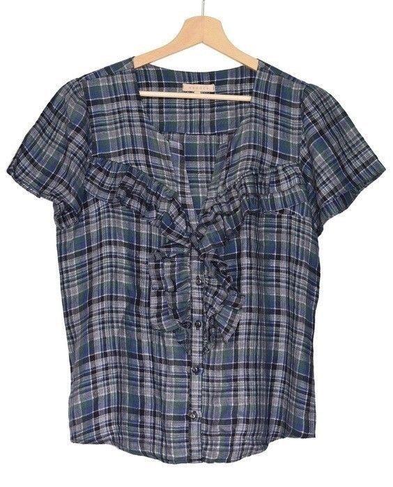 blouse Sandro en lin a carreau taille 2 (38/40) #Chemises
