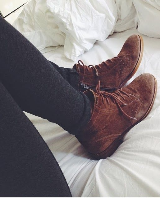 Brown lace up boots and leggings