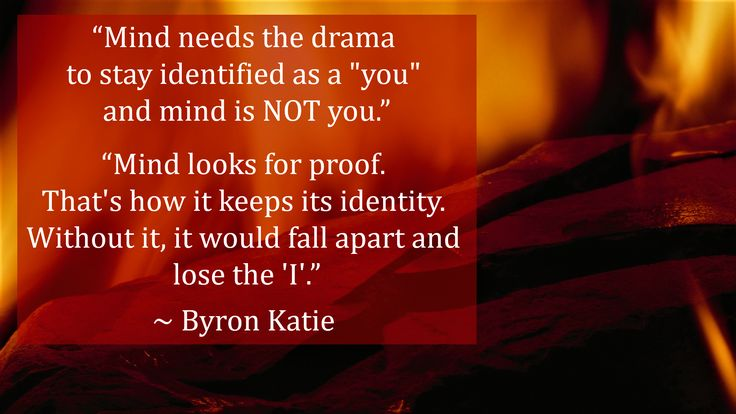 """Mind needs the drama to stay identified as a ""you"" and mind is NOT you.""  ""Mind looks for proof. That's how it keeps its identity. Without it, it would fall apart and lose the 'I'.""  ~ Byron Katie"