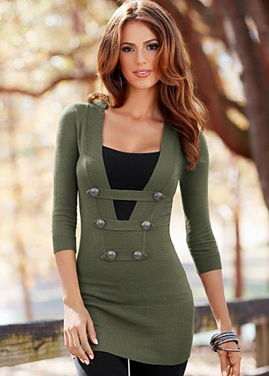 Sweater for photo shoot, to wear with leggings and thigh high boots. Button detail sweater