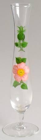 Váza * křišťálové sklo ručně malované květinou s hodinovým ciferníkem.