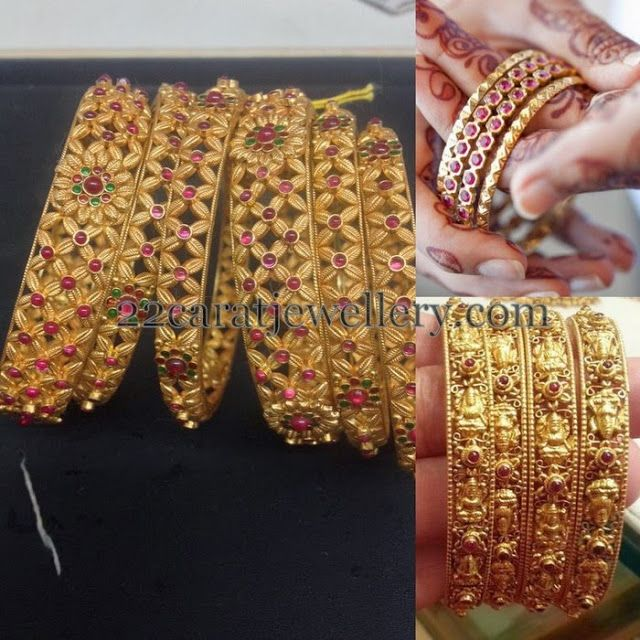 Antique Bangles with Lakshmi Rubies - Jewellery Designs