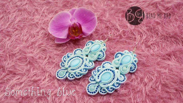 """Something blue"" wedding soutache earrings :) Visit my blog: beadmebad.blogspo... soutacge, sutasz, ślubne, biżuteria, jewelery, sutasz, baby blue"