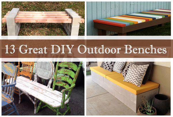13 Great DIY Outdoor Benches - http://www.diyscoop.com/13-great-diy-outdoor-benches/