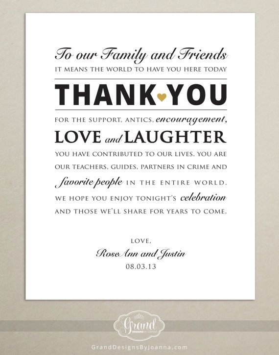 DIGITAL FILE - Personalized Wedding Reception Thank You Card - Wedding Thank You Sign - 8x10 - Printable - Print-Ready .PDF