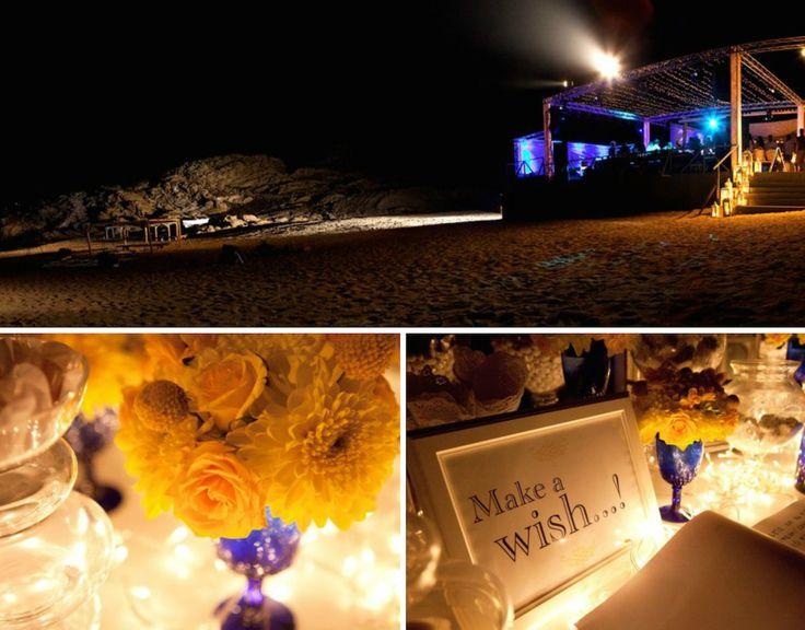 When Brazil Meets Greece Wedding @ Alemagou, Mykonos by De Plan V. Alemagou bar restaurant, Ftelia beach by night, beach party area, make a wish corner, wish book, welcome dessert table, decoration details, scenographic lighting.
