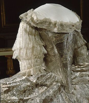Sofia Magdalena's wedding gown, robe de cour, worn at the wedding at the Palace Church November 4, 1766.    Owner :Sofia Magdalena of Sweden  Manufacturer :Johan Adam Ströwer