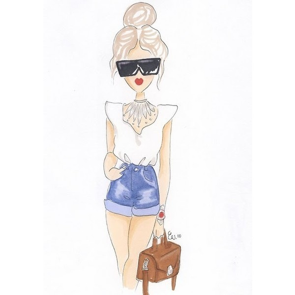 Drawing Fashion Girl Shorts Sketch Via Polyvore | Style File | Pinterest | Shorts Girl ...