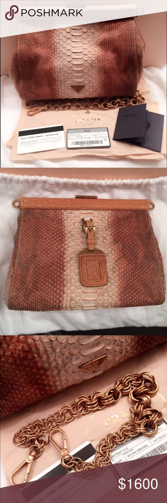 burberry sale outlet online a1ey  Prada crocodile and python skin clutch NWT