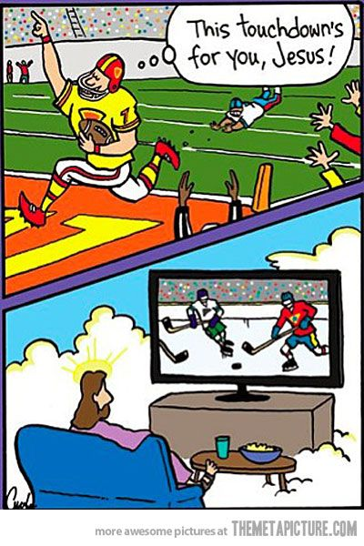 """Jesus says """"Quiet down, the Stanley Cup Playoffs are on."""""""