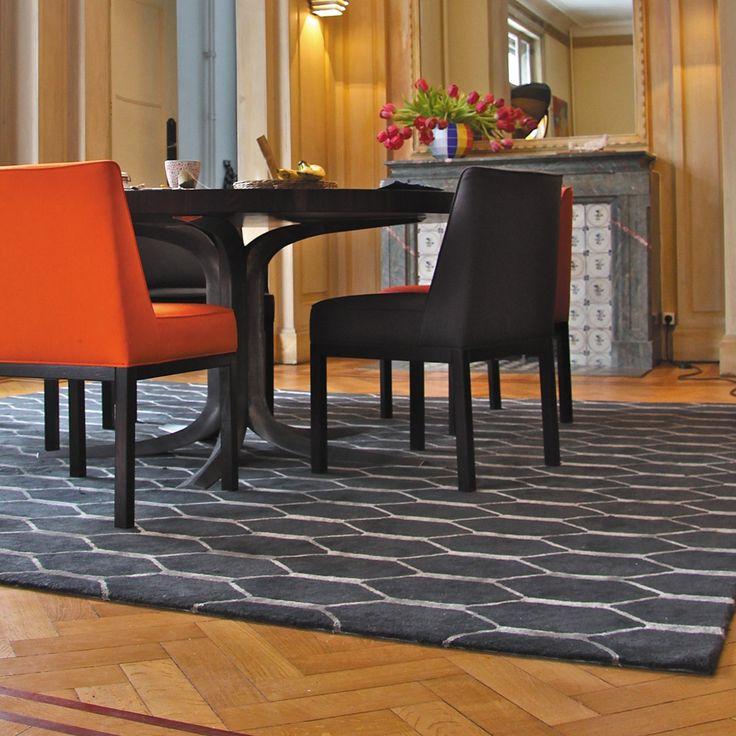 tapis gris avec motifs nid dabeilles en laine de nouvelle zlande et viscose