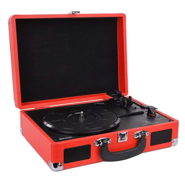 Innovative Technology ITVS-550BT-RD 3-Speed Vintage Bluetooth Suitcase Turntable (Red)