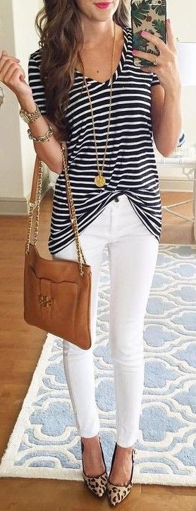 Striped Tee + White Jeans                                                                             Source