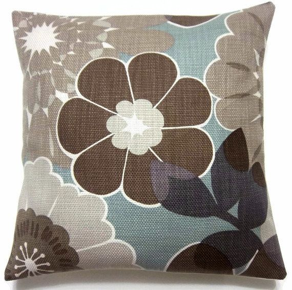 Decorative pillow covers brown gray taupe cadet blue for Brown and gray throw pillows