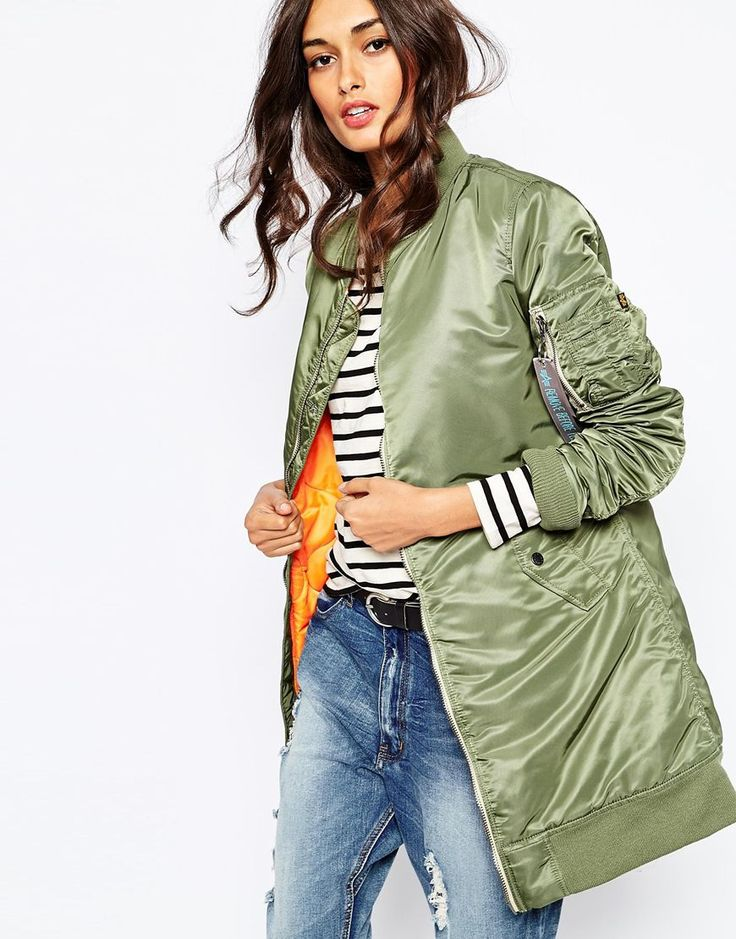 Image 1 ofAlpha Industries Ma1 Long Line Bomber Jacket With Contrast Lining