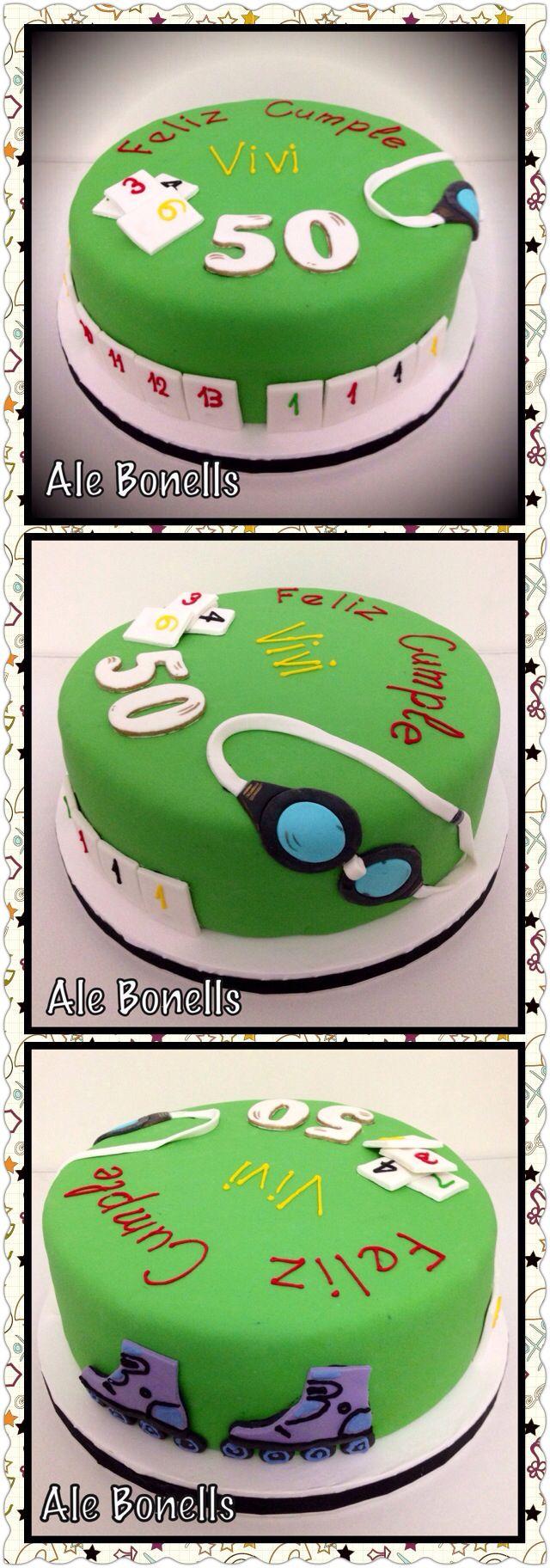 Burako, swim & roller cake. Una torta con los juegos y deportes favoritos de la cumpleañera.