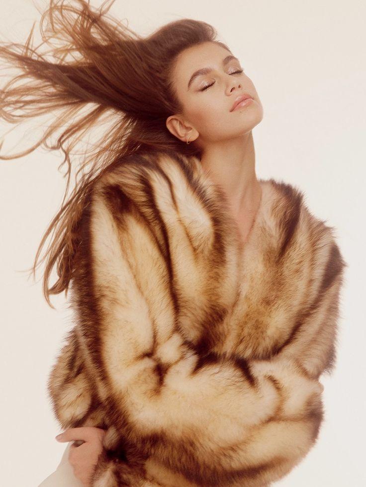 Kaia Gerber models fur coat for POP Magazine Fall-Winter 2016
