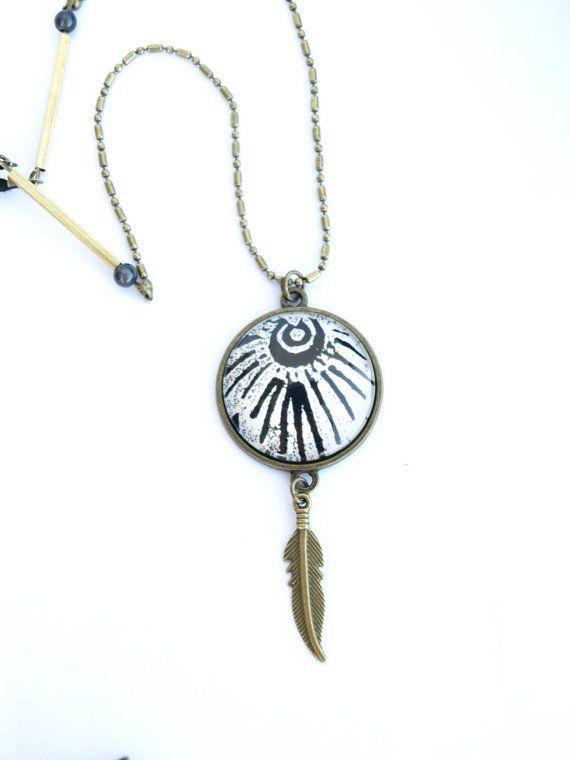 Long collier hippie noir et blanc Collier cabochon original