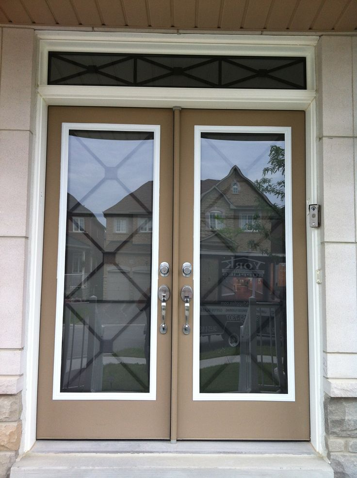 York Supplies Wrought Iron Glass Door Insert Using Our X Design Model