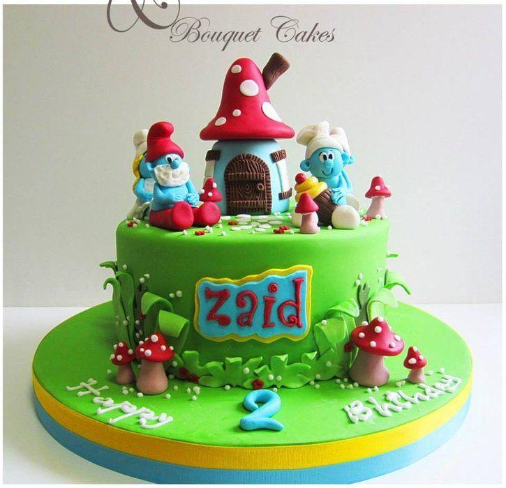 Smurfs cake - by BouquetCakes @ CakesDecor.com - cake decorating website