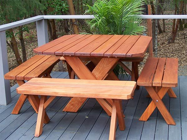 Square Cross Leg Old Growth Redwood Table Set With Benches