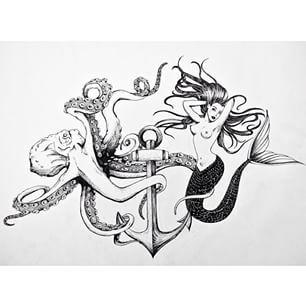 # Krake # Meerjungfrau # Meerestiere # Anker # Ozean # Zeichnen # BnW # Instaart # Instaartist # Stift # …