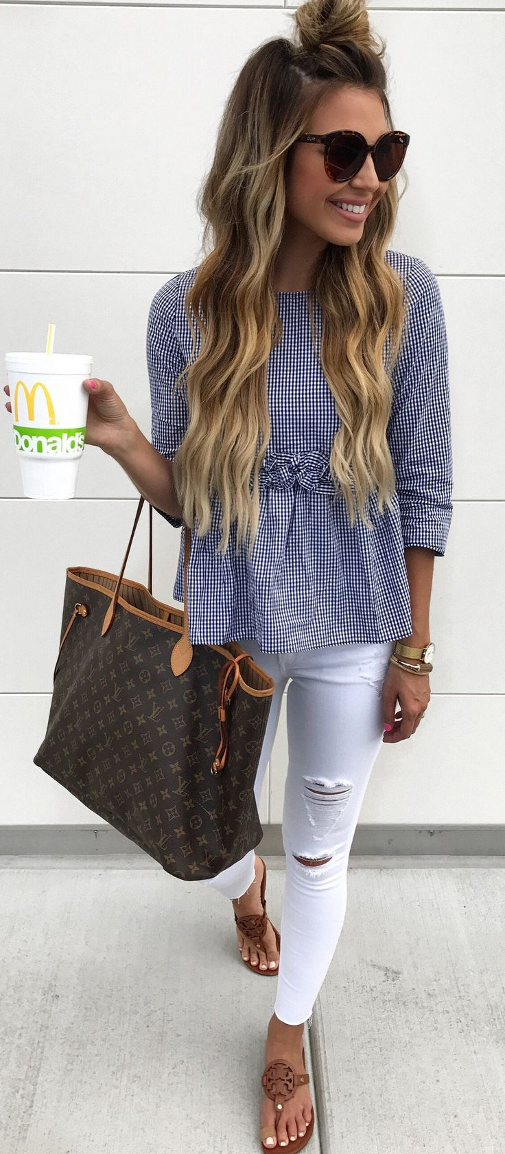 #summer #outfits  Grey Tee + Ripped Skinny Jeans