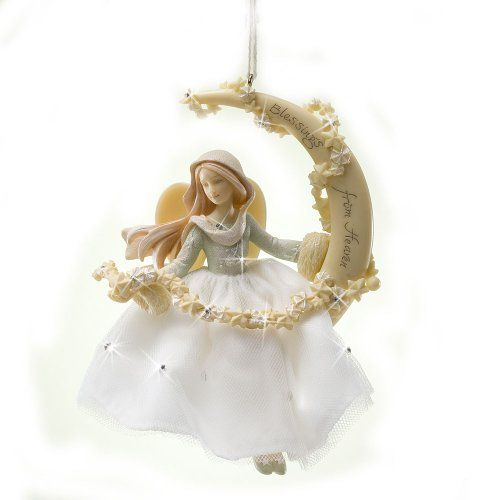 Enesco Foundations Angel Sitting the Moon Ornament