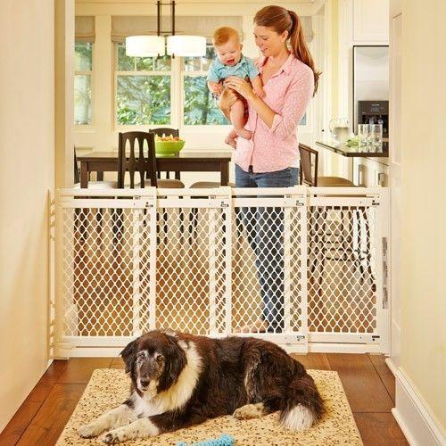 Baby Safety Gate Toddler Child Infant Pet Extra Wide Dog Doorway Barrier Ivory #NorthStates