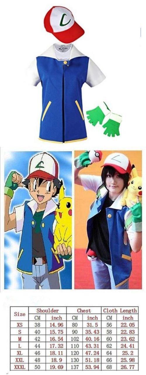 Unisex 86207: Pokemon Ash Ketchum Trainer Costume Halloween Cosplay Shirt Jacket+Gloves+Hat -> BUY IT NOW ONLY: $34.99 on eBay!