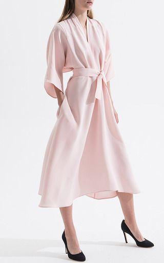 TOME   Pink Silk Crepe V Neck Dress