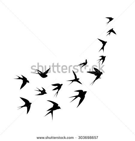 A flock of birds (swallows) go up. Black silhouette on a white background. Vector illustration. - stock vector