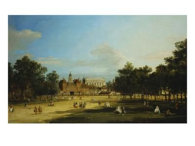 London: the Old Horse Guards and the Banqueting Hall, Whitehall, from St. James's Park, with… Giclee Print by Canaletto at Art.com