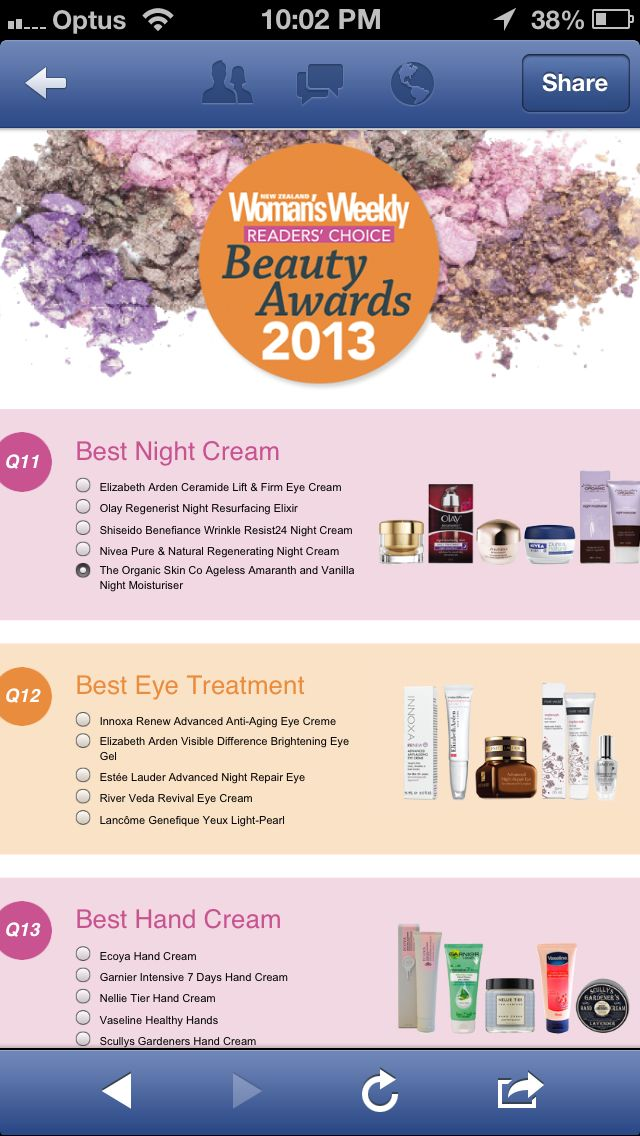 Women's Weekly Beauty Awards 2013 World Organic Products in 3 Categories Best Night Cream, The Organic Skin Co. Ageless Amaranth & Vanilla Night Moisturiser....also Best Eye Treatment our River Veda Eye Revival Cream