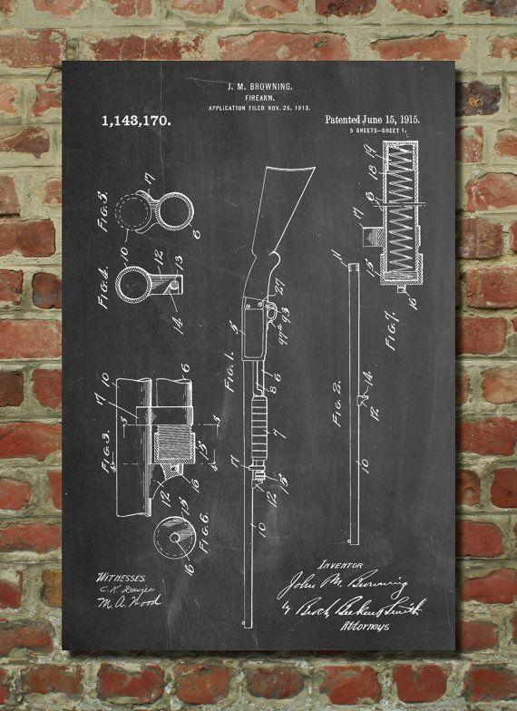 Ithaca Shotgun Patent Wall Art Poster Patent Art Blueprint