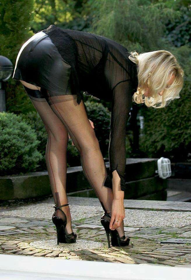 Reinforced heel nylons milf