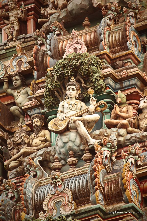 Lord Shiva among hundreds of figures on a temple, Chennai, India