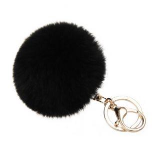 Fekete pom-pom kulcstartó és táskadísz