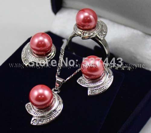 Оптовая продажа горячая распродажа > розовые розы юг морские раковины жемчужные серьги кольцо и ожерелья комплект