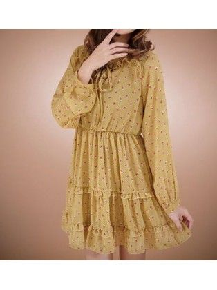 Long Sleevee Floral Embellished Chiffon Dress
