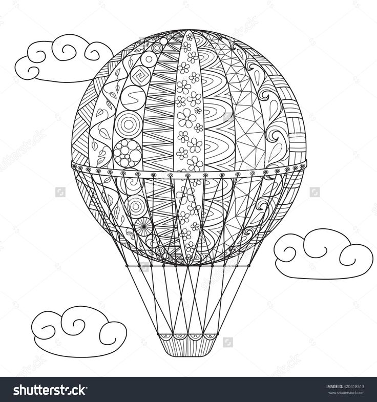 62 Best Hot Air Balloon Coloring Pages For Adult Images On