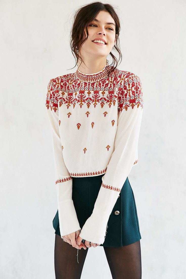 Ecote Simona Embroidered High-Neck Blouse