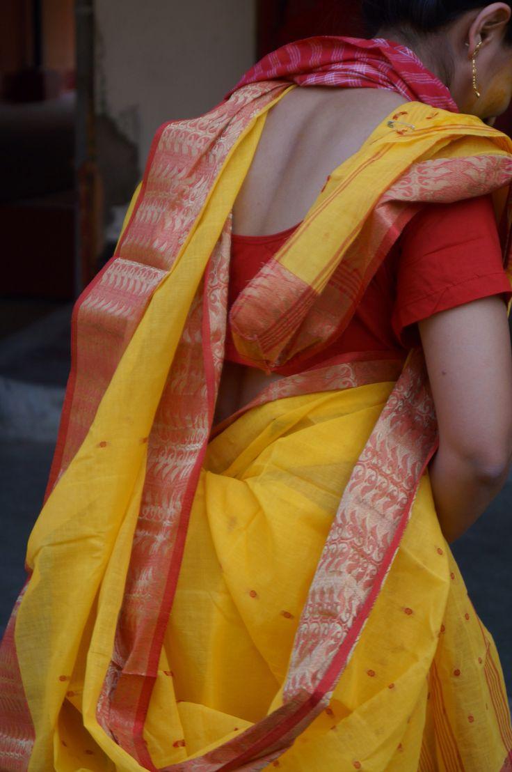 Bengali Style Saree Drape Yellow Red Are Best