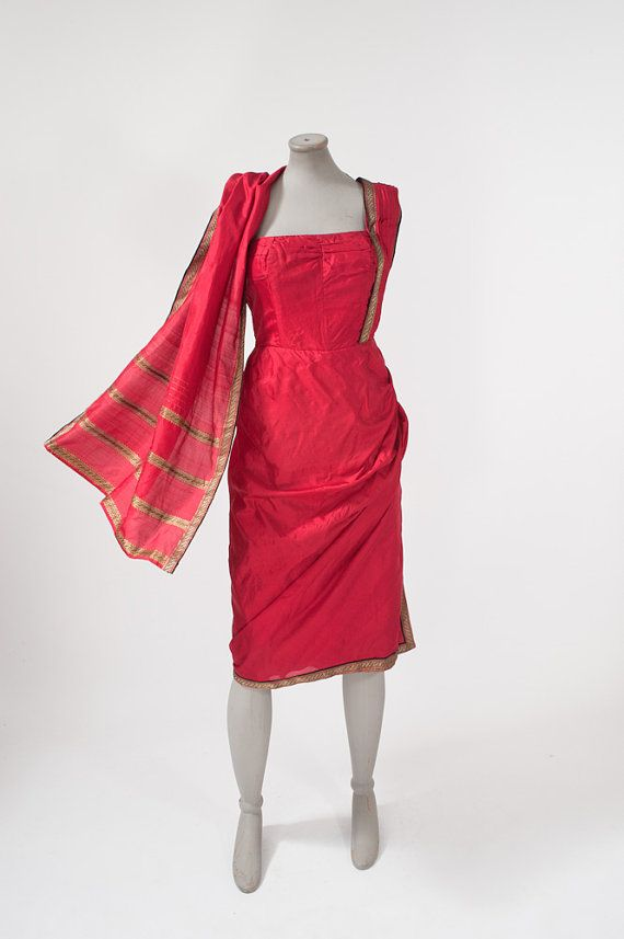 Vintage 1950's Red Silk Wiggle Dress Couture Sari by missfarfalla, $185.00