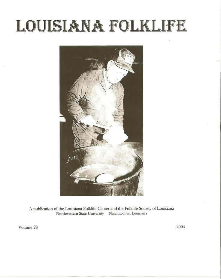 """Vol. 28., 2004 Owens, Maida and Eileen Engel.  """"Louisiana's Many Food Traditions and Louisiana Voices"""" Lee, Dayna Bowker.  """"Evidence of Dual Organization in Southern Caddo Expressive Culture"""" Wells, Tom.  """"Bousillage: Louisiana's Mud Wall"""" Davis, Kerry.  """"The Fabric of Family: Preserving the Parker Family's Quilting Heritage"""" Ralston, Janette.  """"Let's Sing: The Role of Louisiana's Folk Songs in Education"""""""