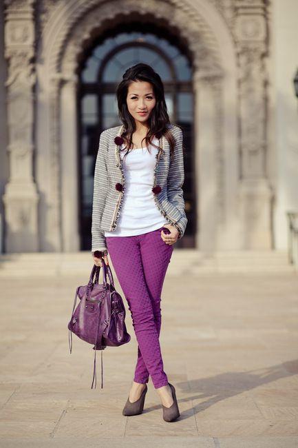 nice standing pose: A Mini-Saia Jeans, Design Shoes, Fashion Design, Design Handbags, Purple Skinny Pants, Purple Pants, Balenciaga Shoes, Polka Dots Jeans, House Scotch