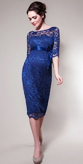 Amelia Lace Maternity Dress Short (Windsor Blue) by Tiffany Rose