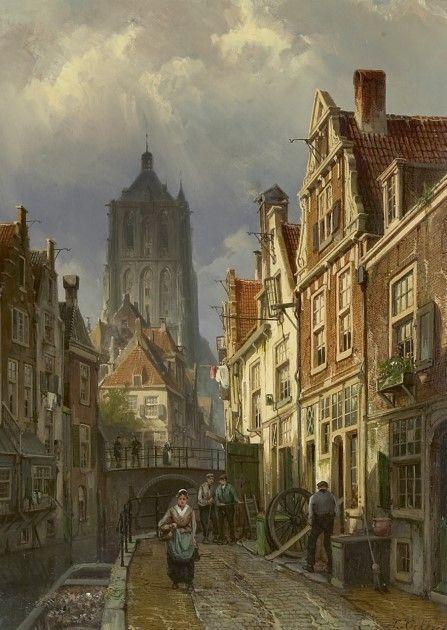 Willem Koekkoek (Amsterdam 1839-1895 Nieuwer-Amstel (thans Amstelveen)) Hollands stadsgezicht met de toren van de Brielse St. Catharinakerk - Kunsthandel Simonis en Buunk, Ede (Nederland).