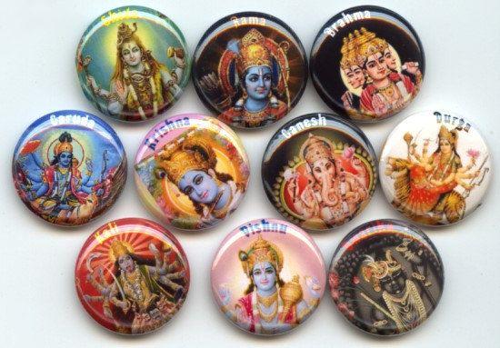 HINDU Gods Goddesses HINDUISM 10 Hand Pressed Pinback 1 by Yesware, $11.00