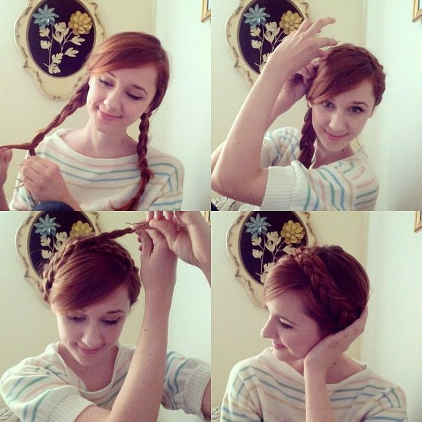 Milkmaid braid tutorial from Laura Spencer herself.
